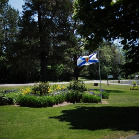 Nova Scotia Flag on property lawn